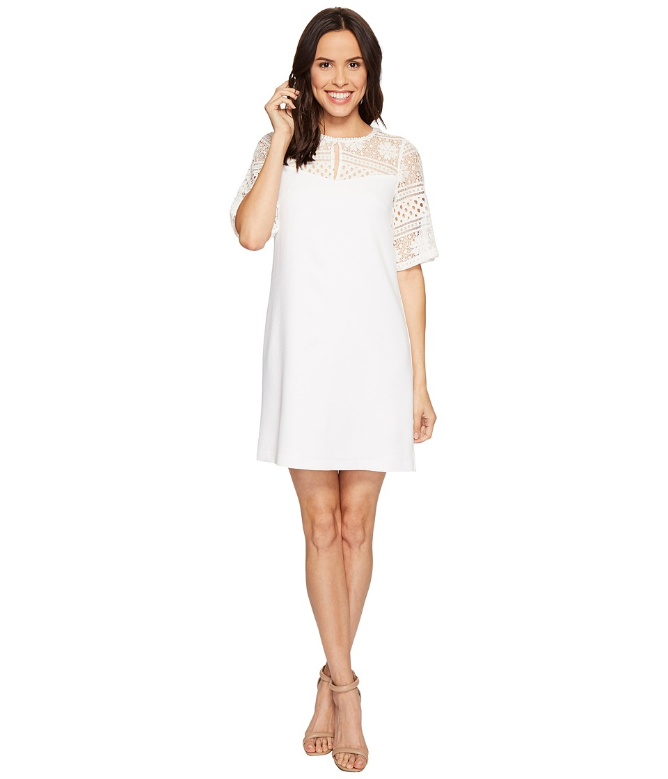 Adrianna Papell - Cameron Textured Woven Shift Dress (Ivory) Women's Dress