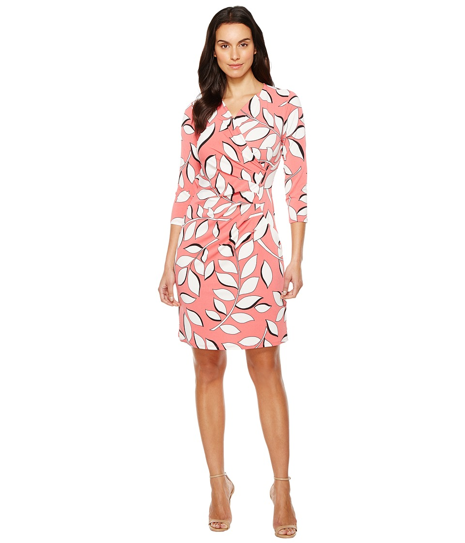 Adrianna Papell - V-Neck 3/4 Sleeve Wrap Dress (Red Multi) Women's Dress