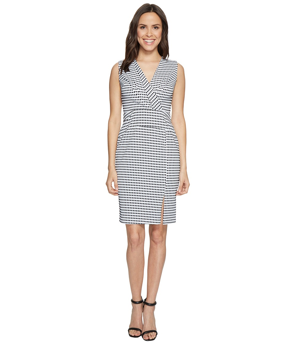 Adrianna Papell Gingham Check Sleeveless CF Fold Detail Fitted Dress (Black/White) Women