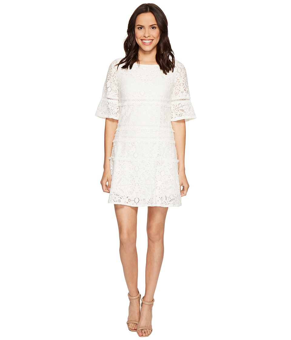 Adrianna Papell - Margot Cross-Dyed Lace Shift Dress (Ivory) Women's Dress