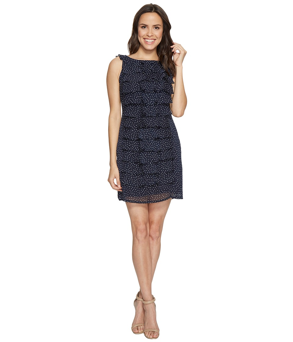 Adrianna Papell - Dot Printed Crinkle Chiffon Shift Dress (Navy) Women's Dress