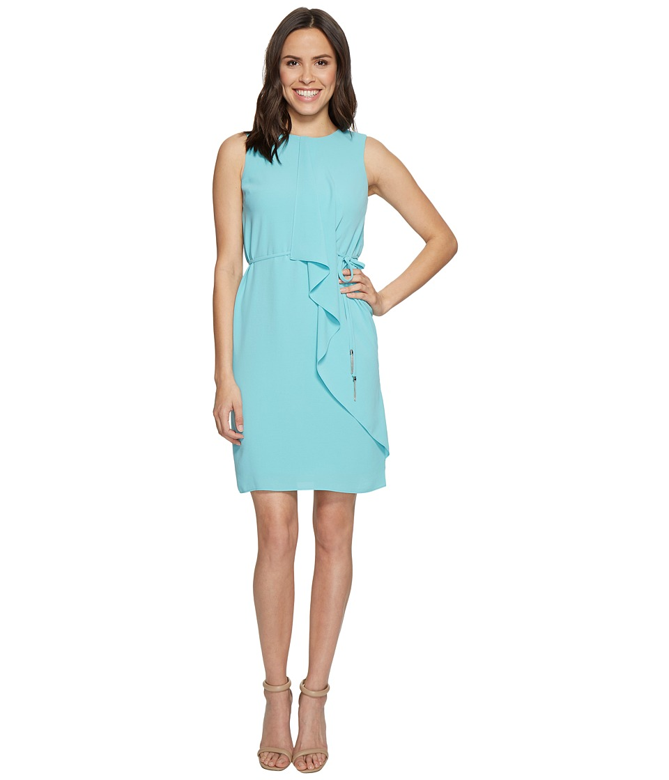 Adrianna Papell Gauzy Crepe Draped Front Dress (Aruba Blue) Women
