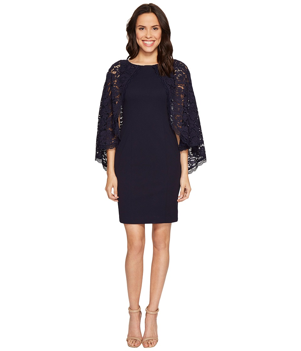 Adrianna Papell - Cynthia Lace Cape Sheath Dress (Navy) Women's Dress