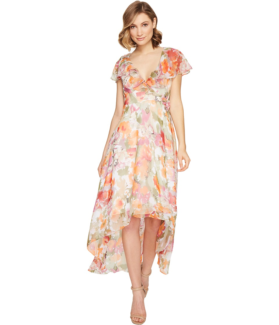 Adrianna Papell - Watercolor Floral Printed Chiffon Wrap Dress (Tangerine Multi) Women's Dress