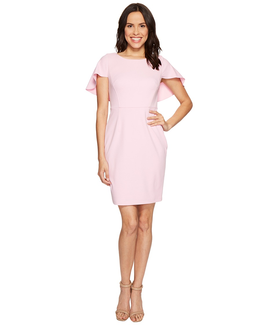 Adrianna Papell - Knit Crepe Small Shoulder Cape Dress (Taffy Pink) Women's Dress