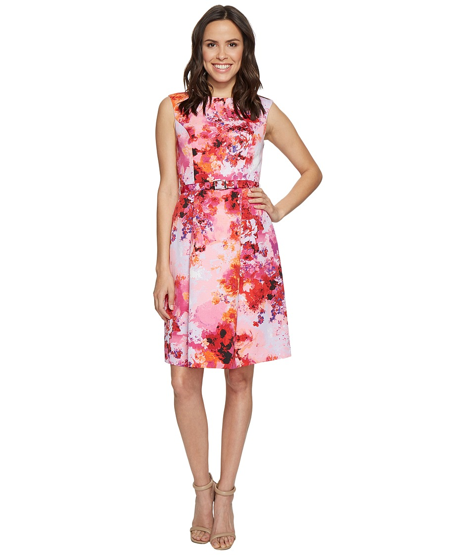 Adrianna Papell Garden Escapades Printed Faille Fit and Flare Dress (Pink Multi) Women