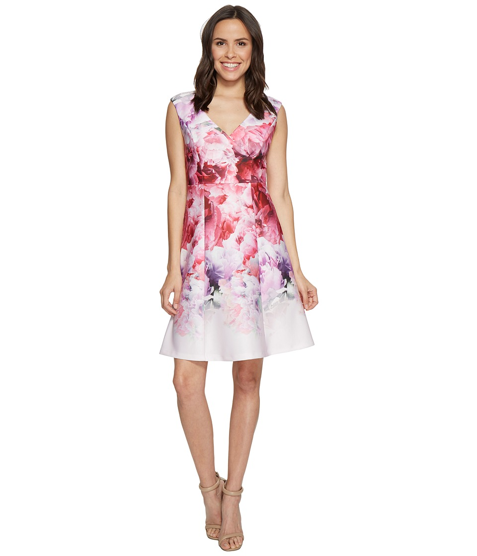 Adrianna Papell Peony Cloud Printed Scuba Surplus Fit and Flare Dress (Pink Multi) Women