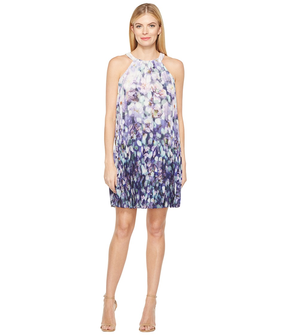 Adrianna Papell - Fading Splendor Printed Stretch Chiffon Pleated Trapeze Dress (Purple Multi) Women's Dress