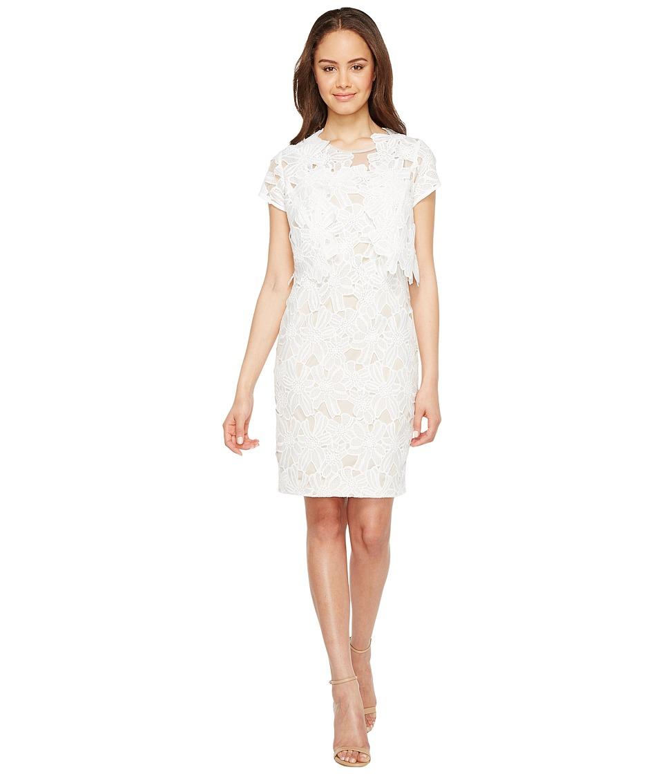 Adrianna Papell Celcilia Lace Sheath Dress (White/Chamois) Women