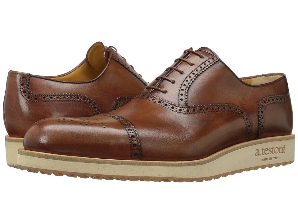 a. testoni - Antiqued Medallion Toe Sneaker (Caramel) Men's Lace Up Wing Tip Shoes