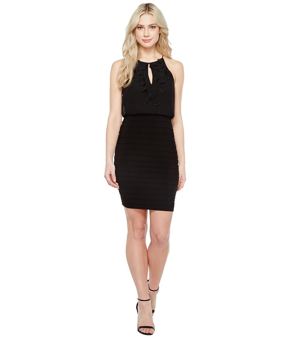 Adrianna Papell Chiffon Applique Floral Halter Bodice Dress (Black) Women