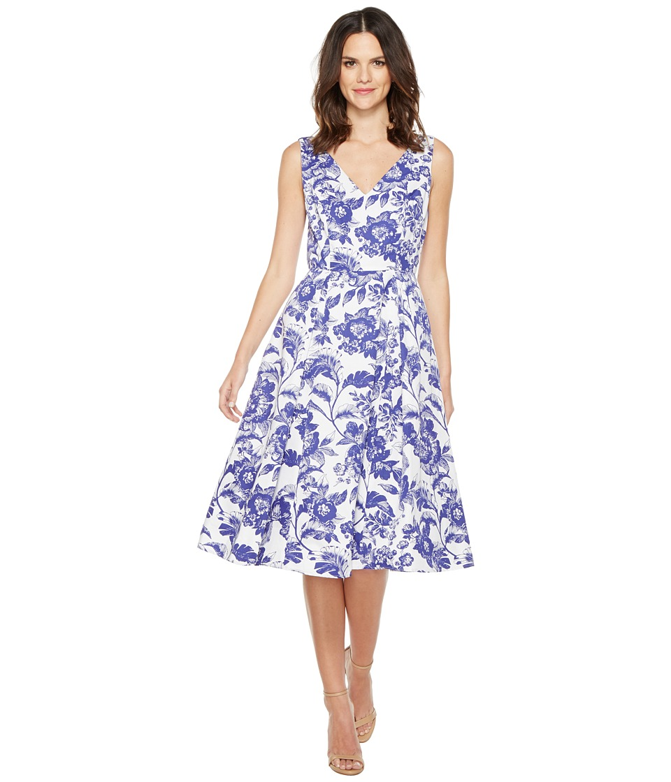 Adrianna Papell - Printed Cotton Faille Fit and Flare Midi Dress (Ivory/Cobalt) Women's Dress