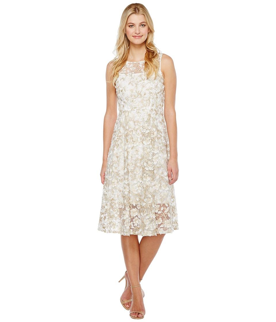 Adrianna Papell - Liliana 3D Metallic Lace Midi Fit and Flare Bateau Neck Dress (Ivory/Gold) Women's Dress