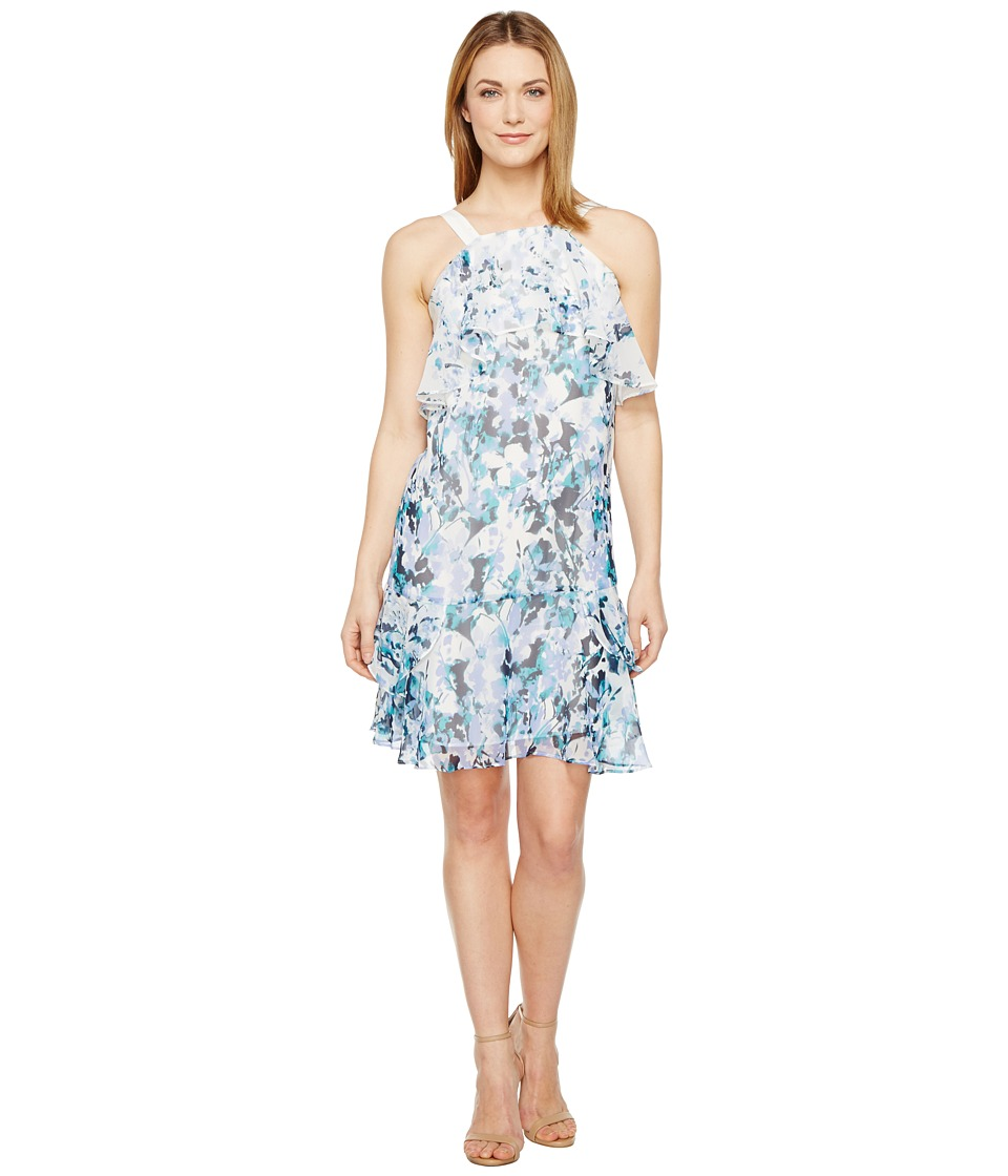 Adrianna Papell - Floral Cascade Printed Chiffon Tiered Sleeveless Shift Dress (Blue Multi) Women's Dress