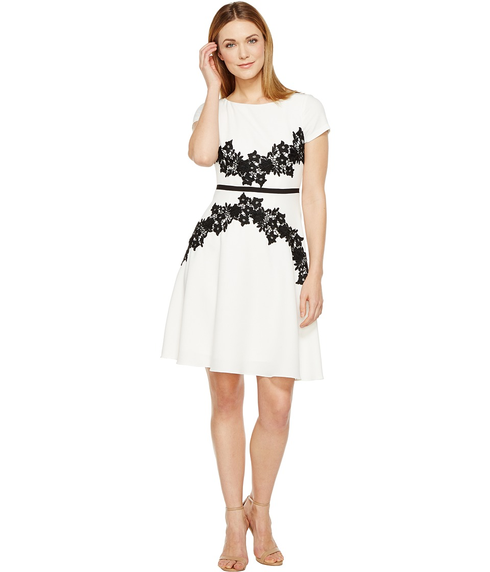 Adrianna Papell - Cap Sleeve Fit and Flare Dress (Ivory/Black) Women's Dress