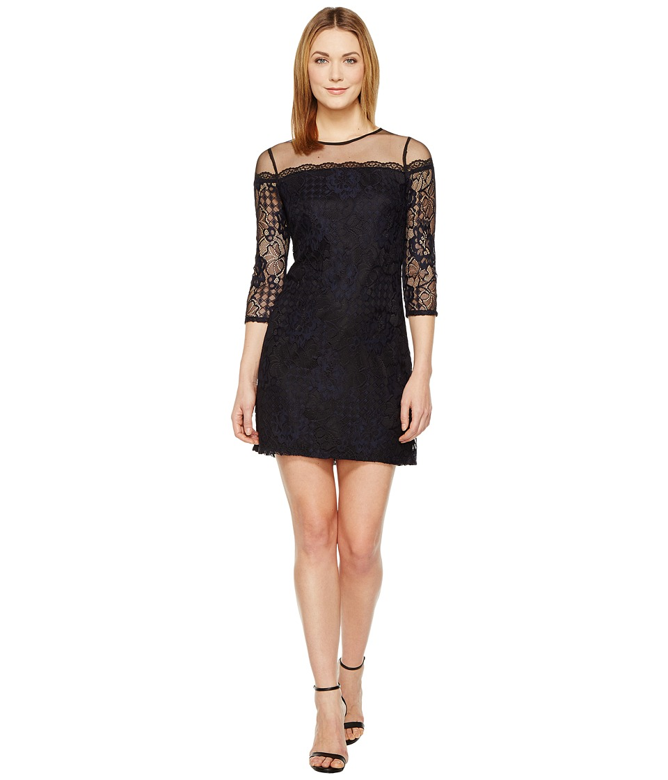 Adrianna Papell - Adele Lace Shift Dress (Black/Navy) Women's Dress