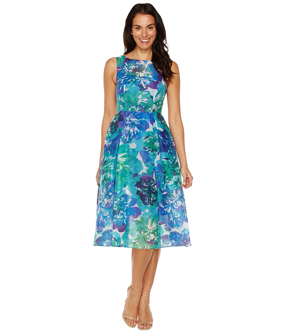Adrianna Papell - Printed Ribbed Organza Fit and Flare Midi Dress (Blue Multi) Women's Dress