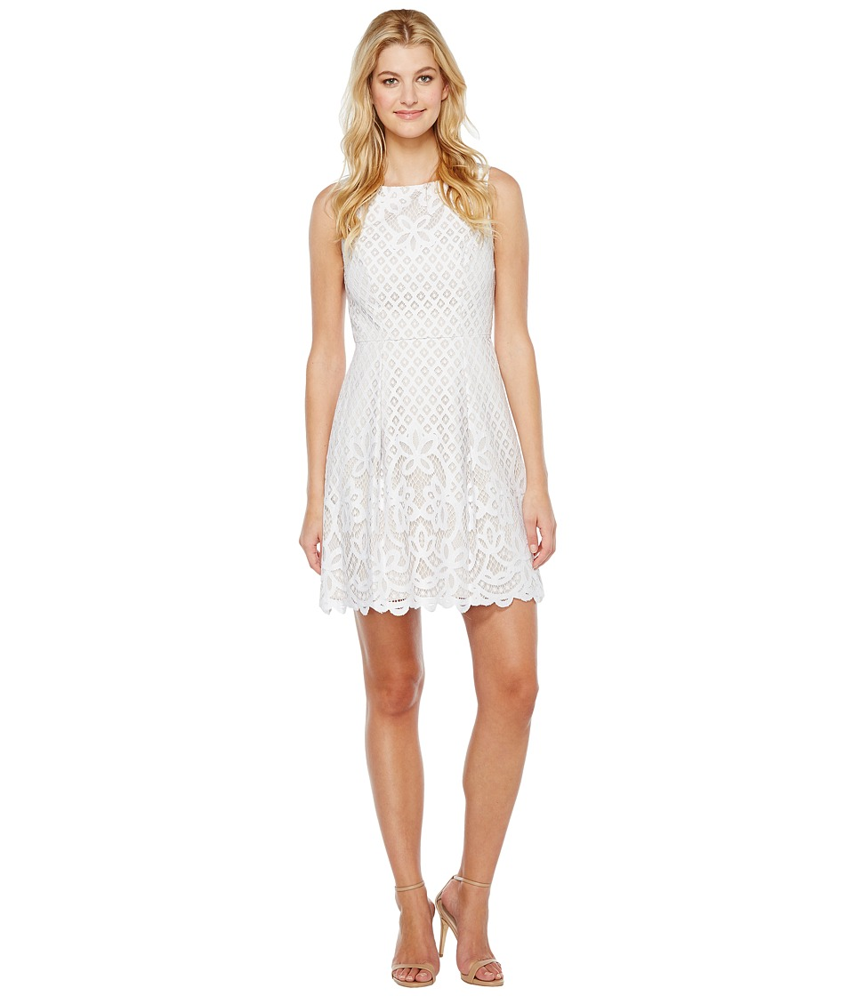 Adrianna Papell Giselle Lace Fitand Flare Dress (White/Chamois) Women