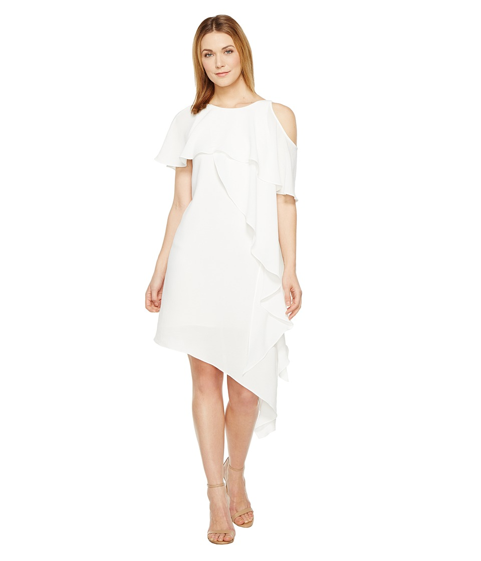 Adrianna Papell - Novelty Gauzy Crepe Cold Shoulder Asymmetric Dress (Ivory) Women's Dress