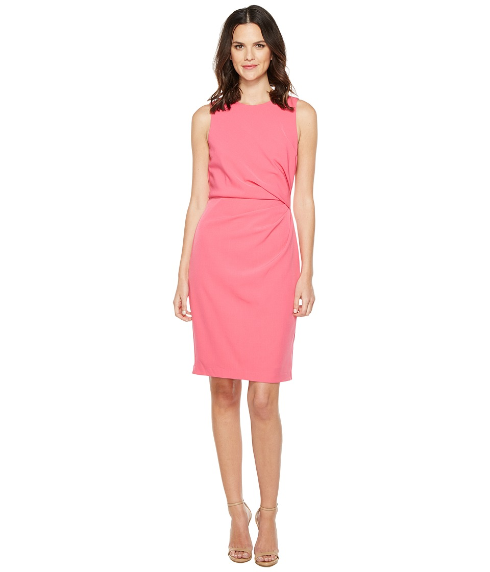 Adrianna Papell Lined Stretch Crepe Sheath Dress (Fiesta Pink) Women