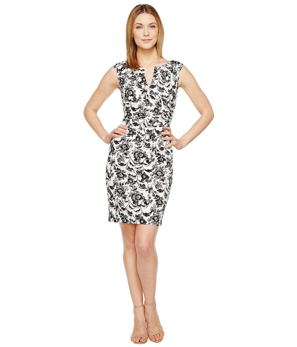 Adrianna Papell - Printed Stretch Cotton Side Drape Sheath Dress (Ivory/Black) Women's Dress