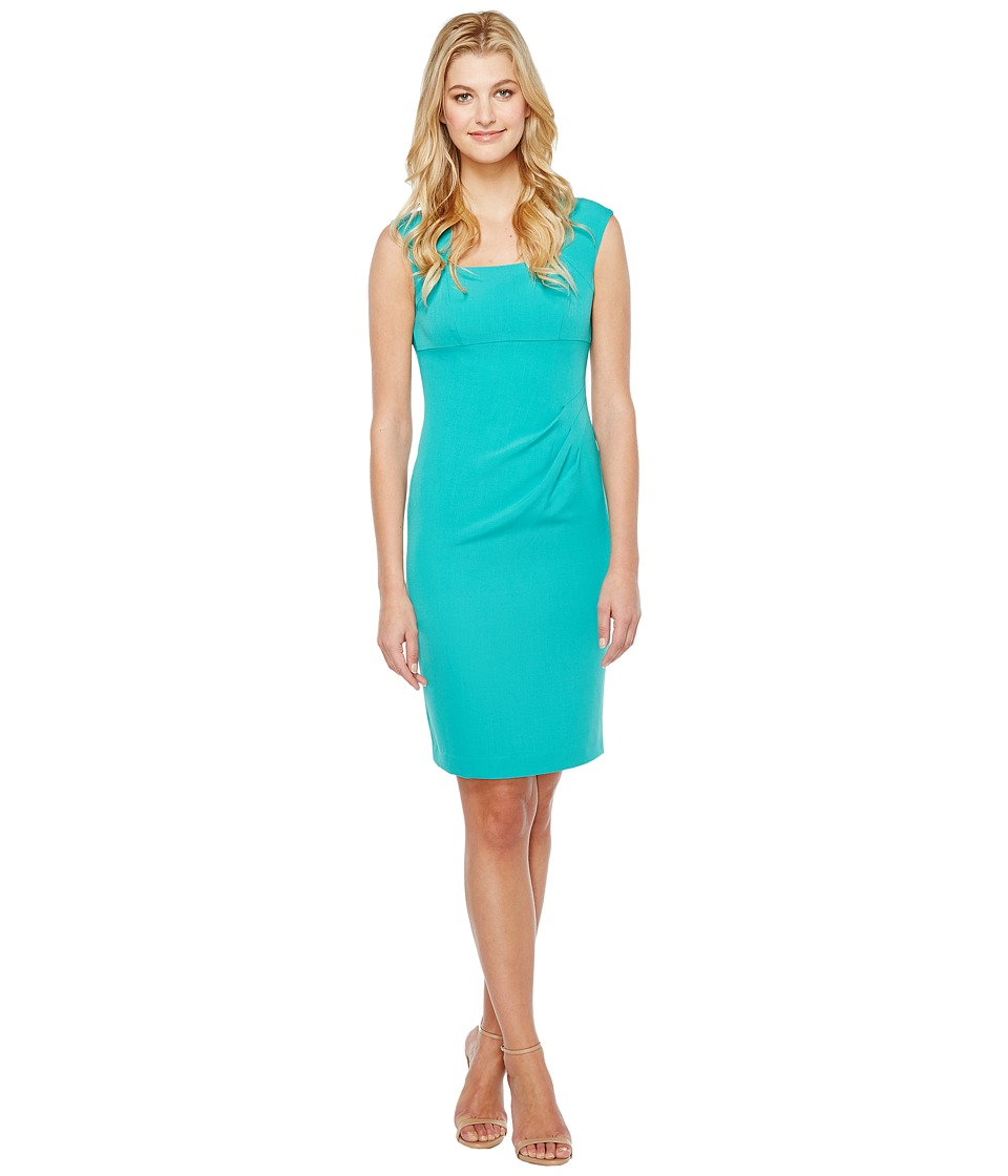 Adrianna Papell - Bolero Shoulder Pleated Sheath (Caribbean Teal) Women's Dress