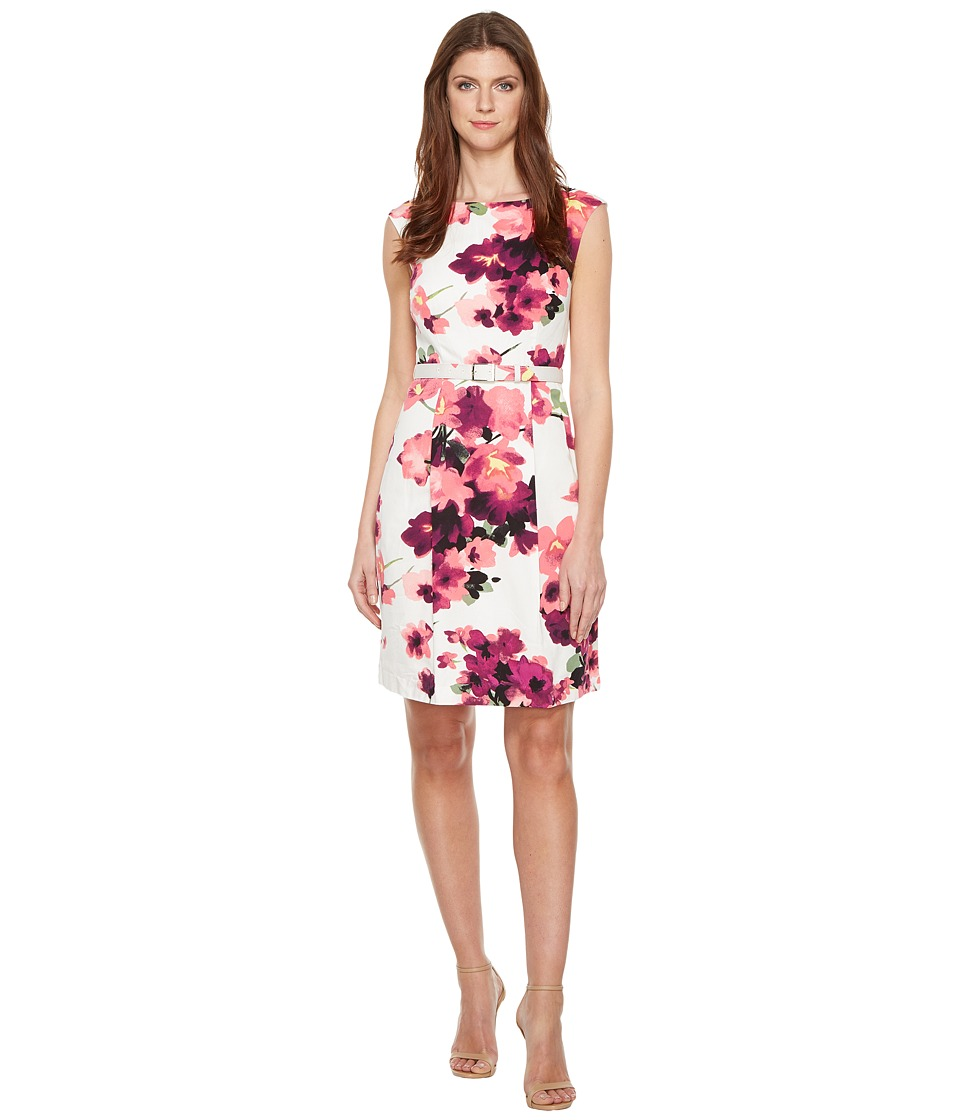 Adrianna Papell - Printed Cotton Faille Belted A-Line Dress (Pink Multi) Women's Dress