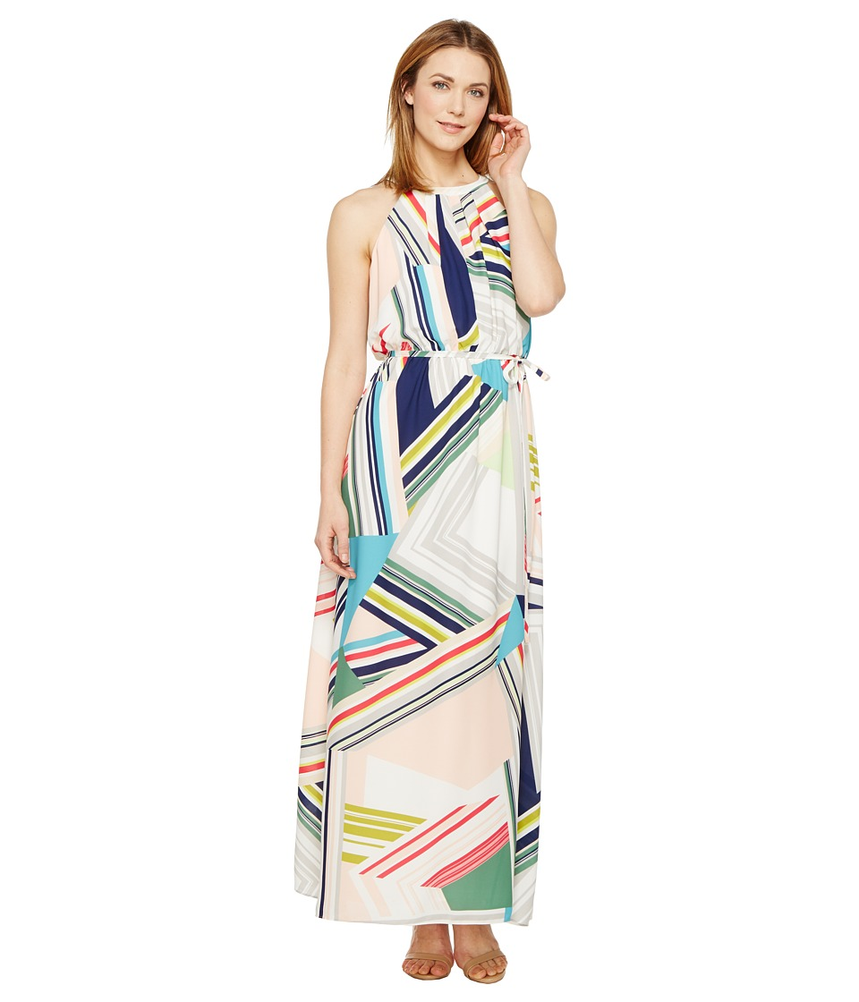 Adrianna Papell - Printed Striped Maze Georgette Halter Maxi Dress (Blue/Green Multi) Women's Dress