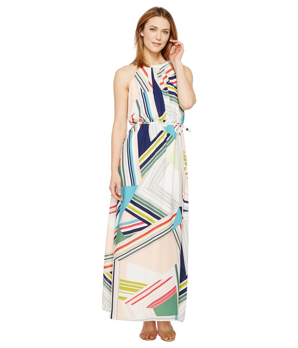 Adrianna Papell - Printed Striped Maze Georgette Halter Maxi Dress (Blue/Green Multi) Women's Dress