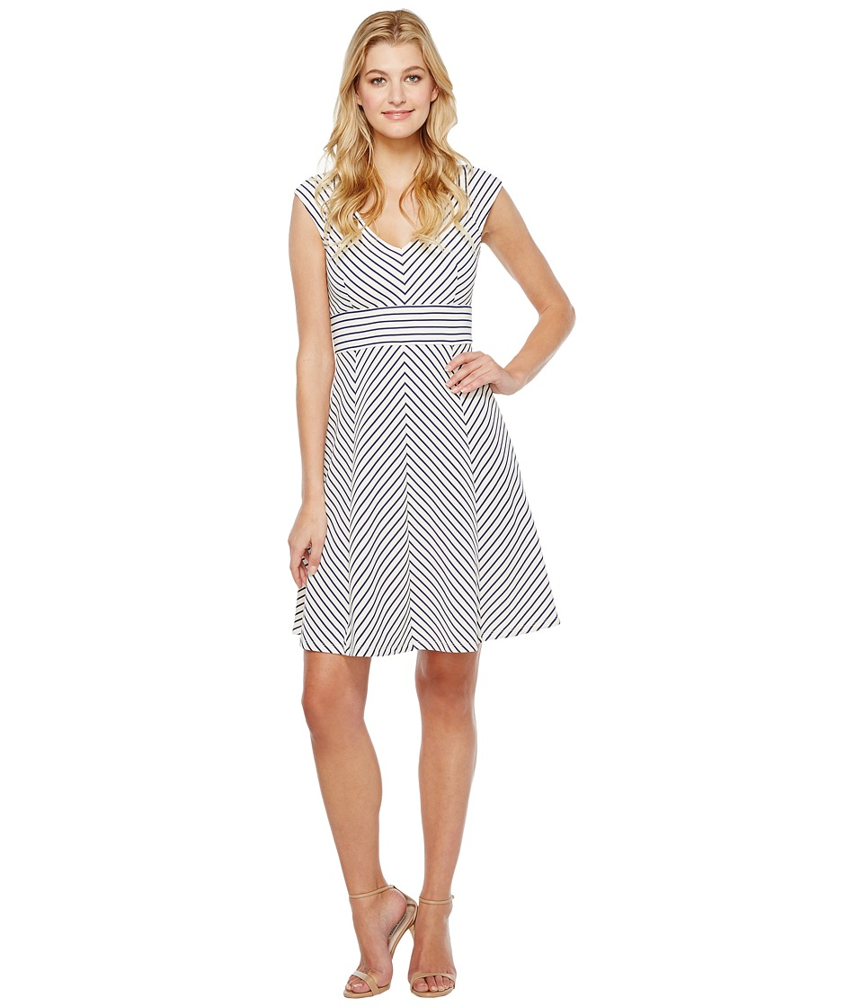 Adrianna Papell Cap Sleeve Stripe Fit and Flare Dress (White/Blue Moon) Women