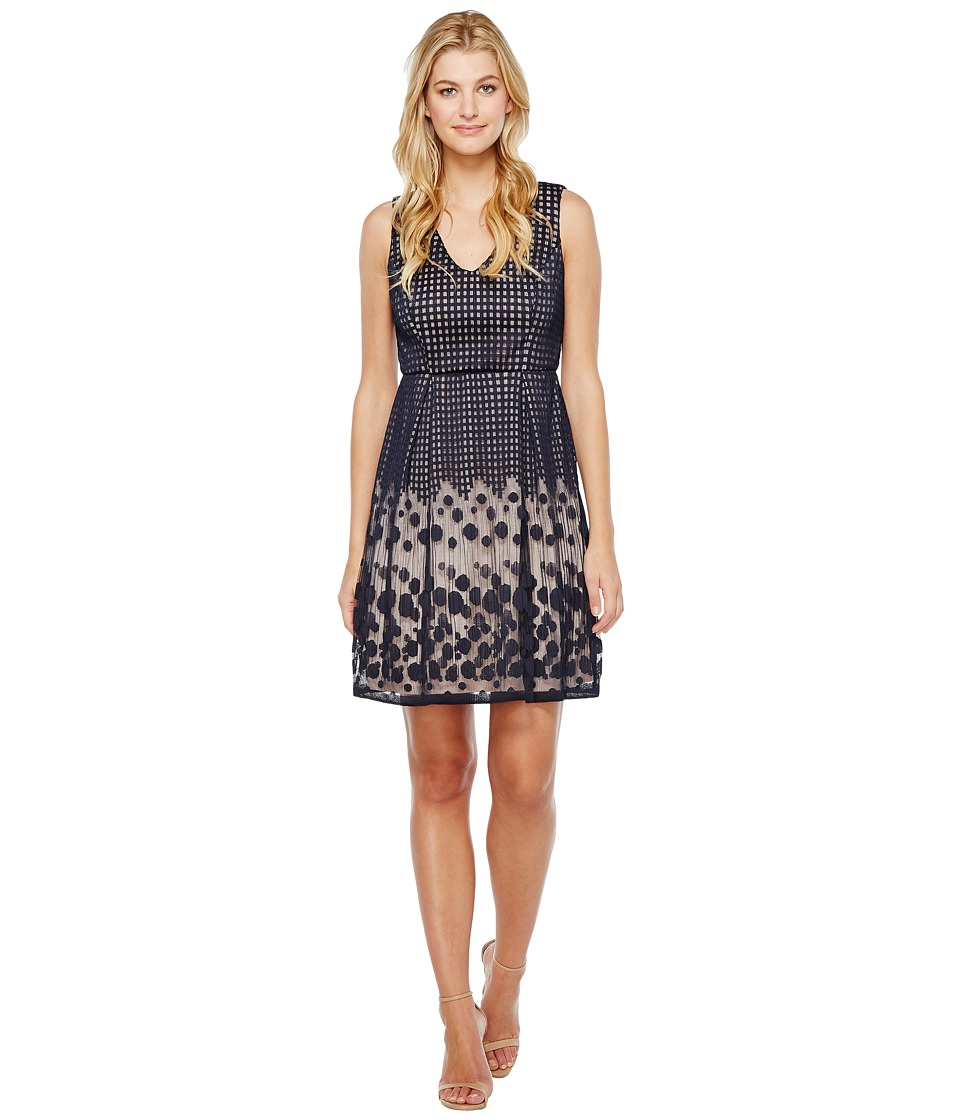 Adrianna Papell - Pleated Plaid Dot Lace V-Neck Fit and Flare Dress (Navy/Whisper Pink) Women's Dress