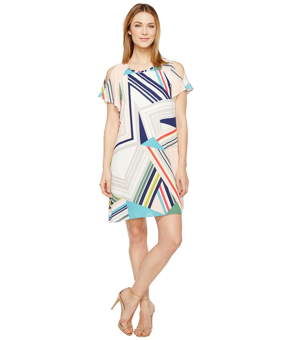 Adrianna Papell - Striped Maze Cold Shoulder Trapeze Dress (Blue/Green Multi) Women's Dress