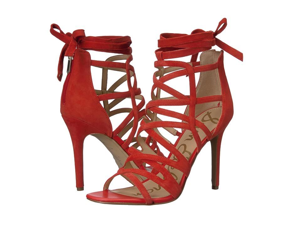 Sam Edelman - Alba (Havana Red Kid Suede Leather) Women's 1-2 inch heel Shoes