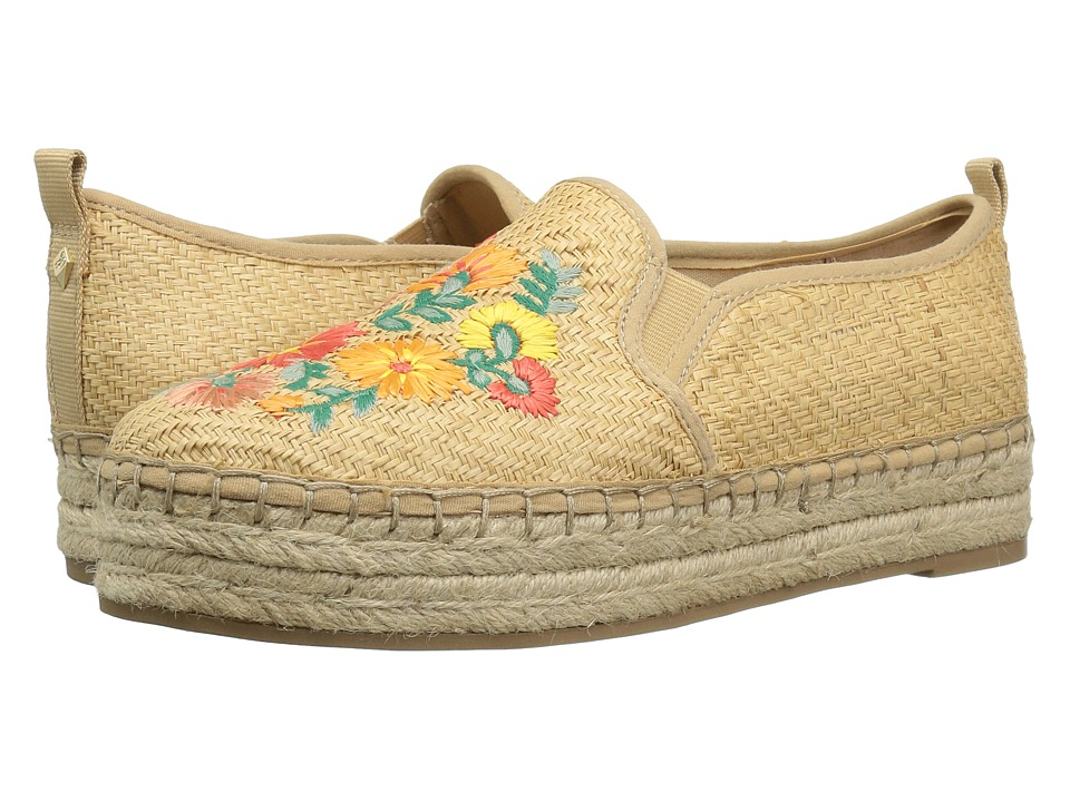 Sam Edelman - Carrin 3 (Natural Basket Weave Raffia/Bright Multi Riveria Floral Raffia) Women's 1-2 inch heel Shoes