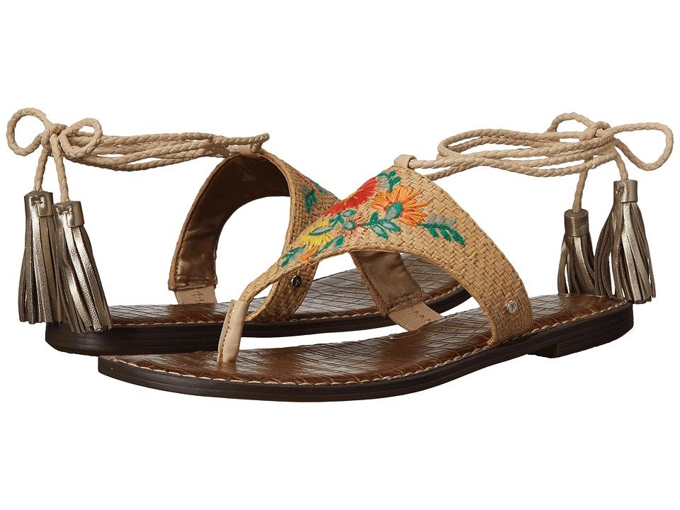 Sam Edelman - Geri 3 (Natural Basket Weave Raffia/Bright Multi Riveria Floral) Women's 1-2 inch heel Shoes
