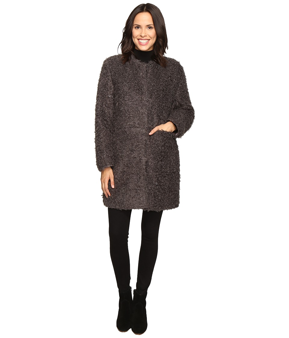 Via Spiga - Curly Faux Fur Coat (Grey) Women's Coat