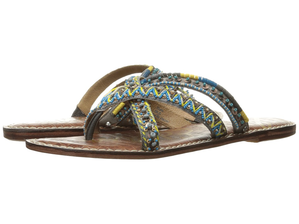 Sam Edelman - Karly (Turquoise Multi Cross Strap Beaded Fabric) Women's 1-2 inch heel Shoes