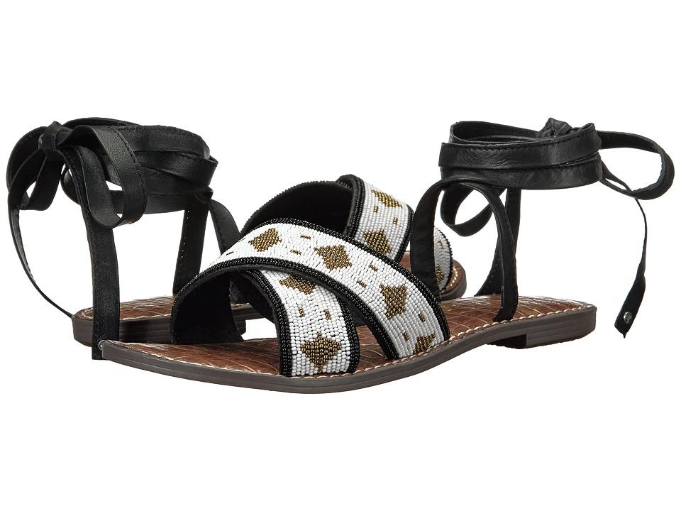 Sam Edelman - Luisa (Black/White Bead Embellished Cross Strap) Women's 1-2 inch heel Shoes