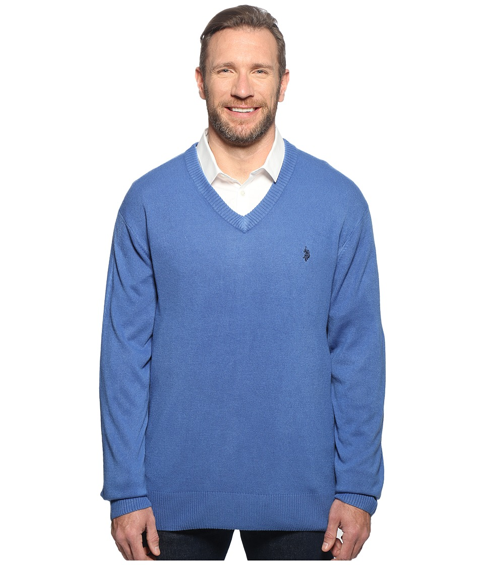 U.S. POLO ASSN. - Big Tall Long Sleeve V-Neck Soft Acrylic (Bright Cobalt) Men's Sweater