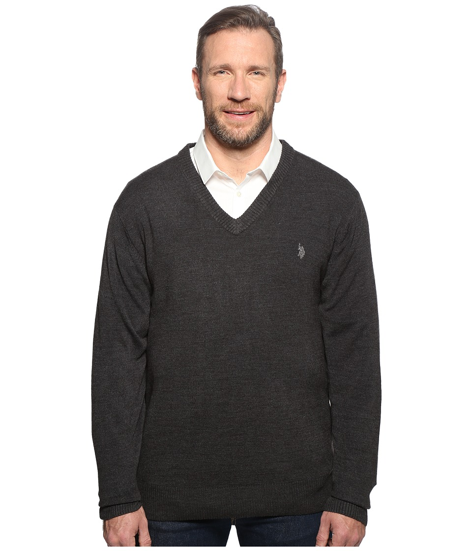 U.S. POLO ASSN. - Big Tall Long Sleeve V-Neck Soft Acrylic (Charcoal Heather) Men's Sweater