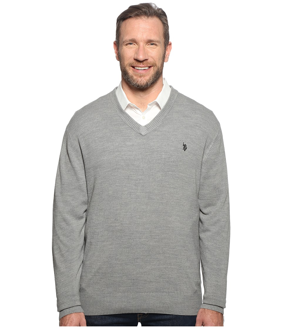 U.S. POLO ASSN. - Big Tall Long Sleeve V-Neck Soft Acrylic (Moon Heather) Men's Sweater