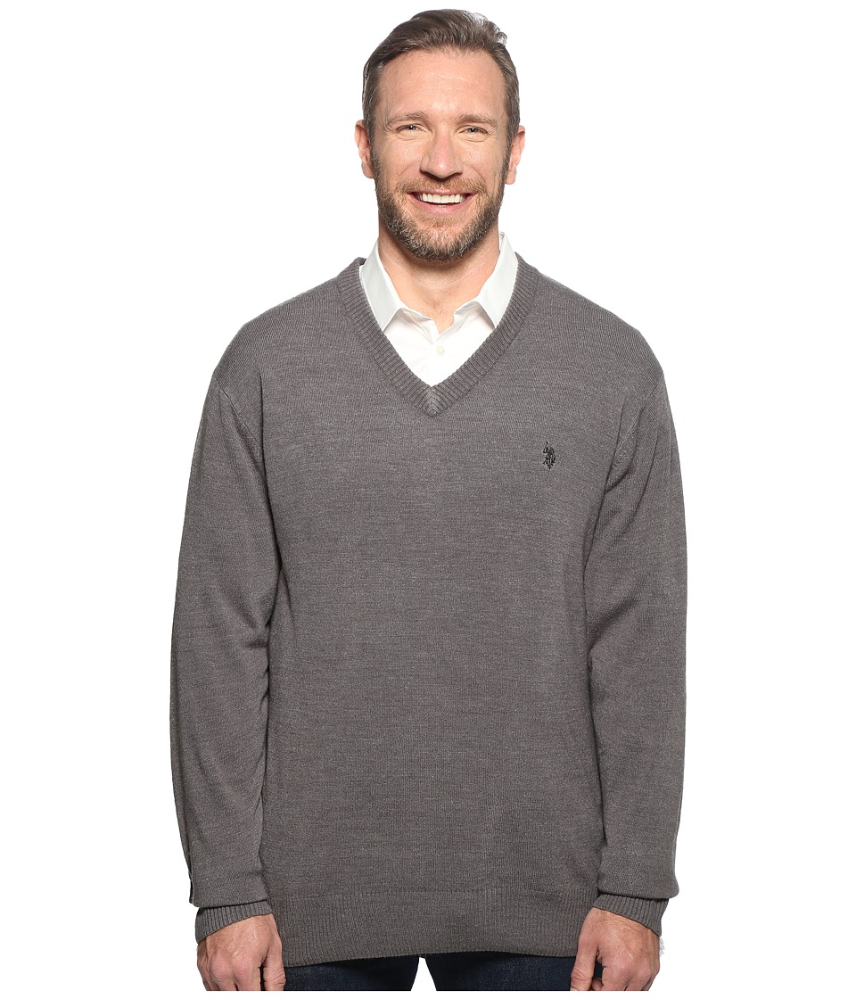 U.S. POLO ASSN. - Big Tall Long Sleeve V-Neck Soft Acrylic (Granite Heather) Men's Sweater