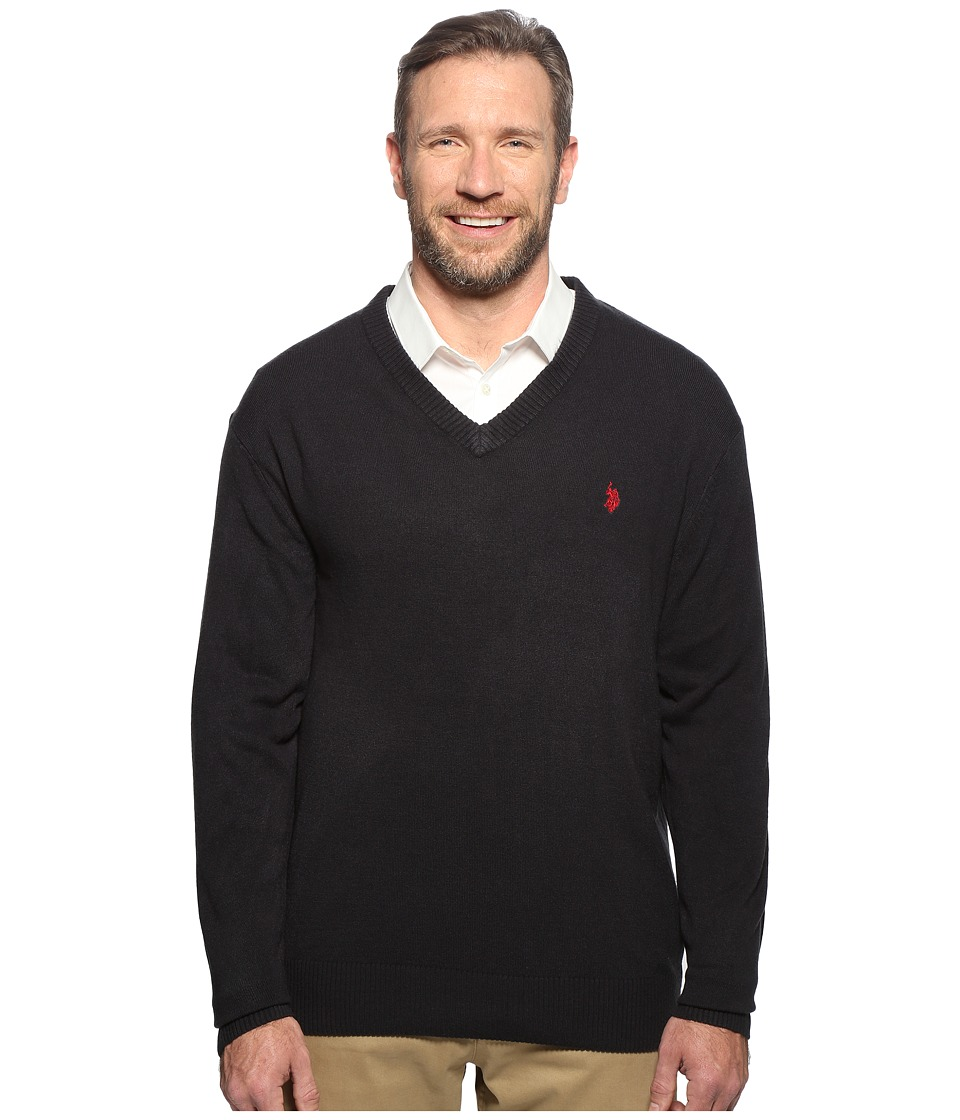 U.S. POLO ASSN. - Big Tall Long Sleeve V-Neck Soft Acrylic (Navy) Men's Sweater