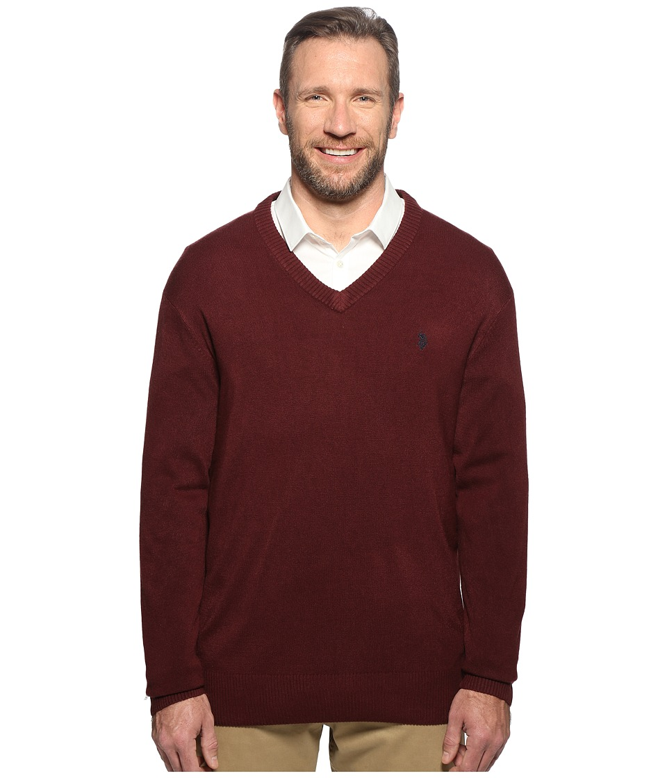 U.S. POLO ASSN. - Big Tall Long Sleeve V-Neck Soft Acrylic (Burgundy) Men's Sweater