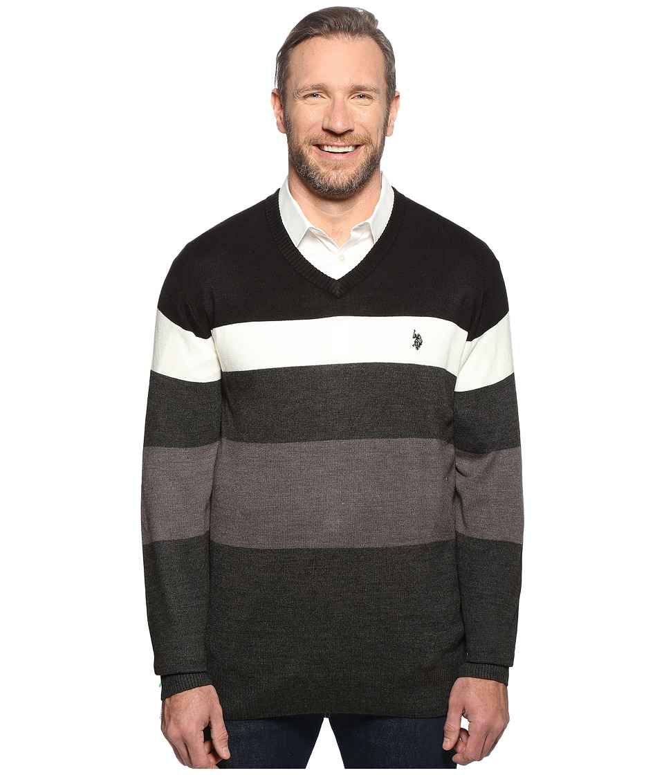 U.S. POLO ASSN. - Long Sleeve V-Neck Stripe Soft Acrylic (Black) Men's Sweater
