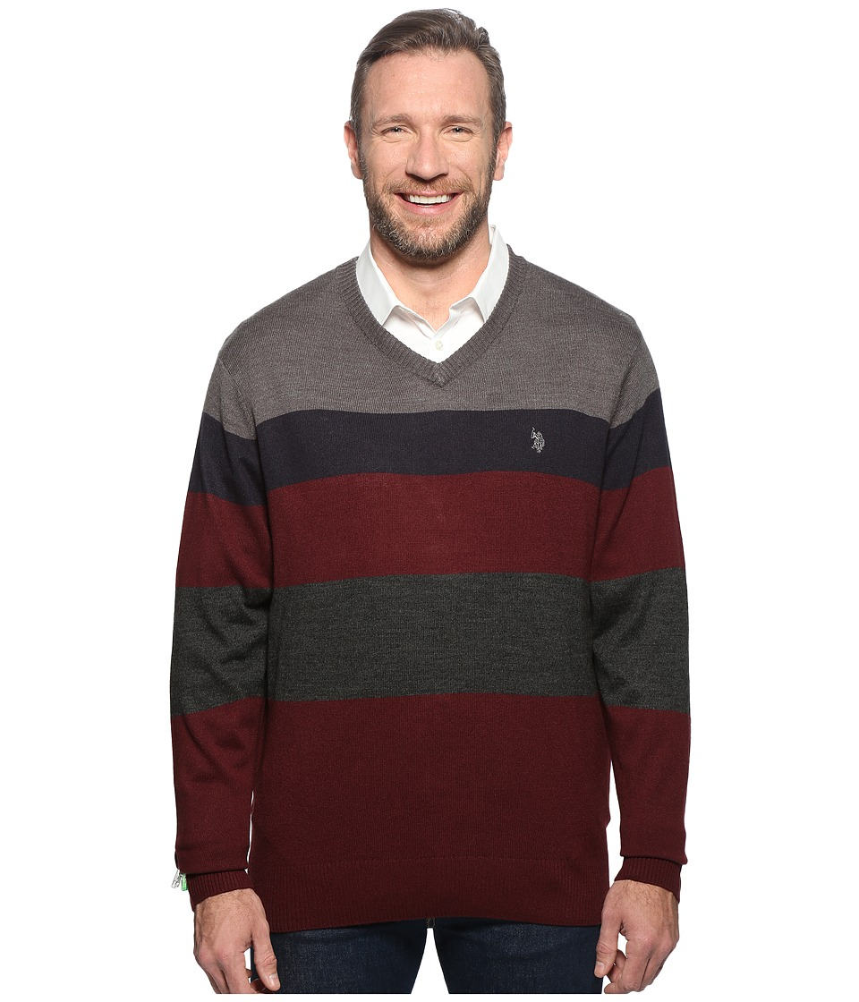 U.S. POLO ASSN. - Long Sleeve V-Neck Stripe Soft Acrylic (Granite Heather) Men's Sweater