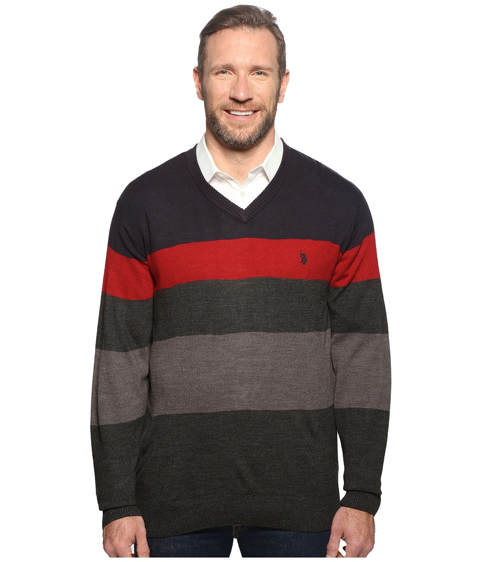 U.S. POLO ASSN. - Long Sleeve V-Neck Stripe Soft Acrylic (Navy) Men's Sweater