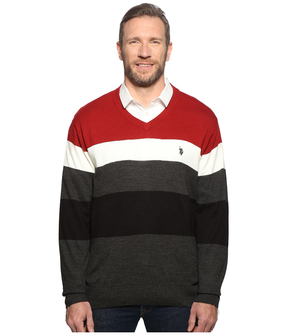 U.S. POLO ASSN. - Long Sleeve V-Neck Stripe Soft Acrylic (Red) Men's Sweater