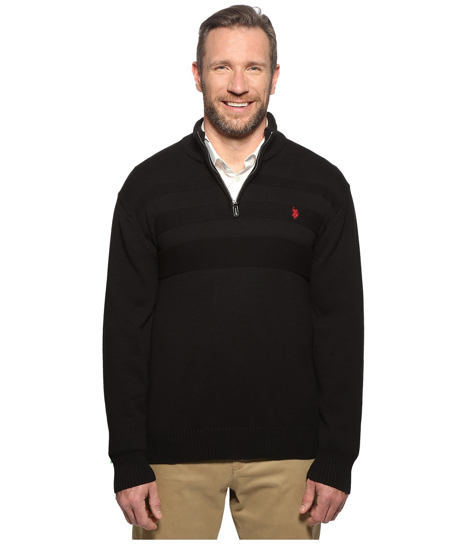 U.S. POLO ASSN. - Long Sleeve 1/4 Zip Chest Texture (Black) Men's Sweater