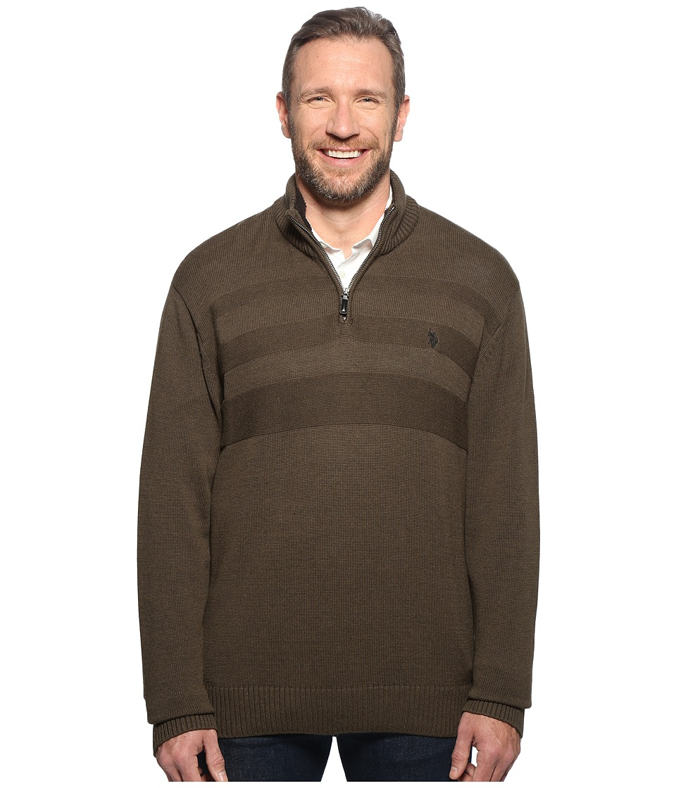 U.S. POLO ASSN. - Long Sleeve 1/4 Zip Chest Texture (Parsley Heather) Men's Sweater